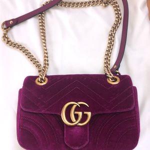 Gucci Velvet Marmont Flap Bag Purple